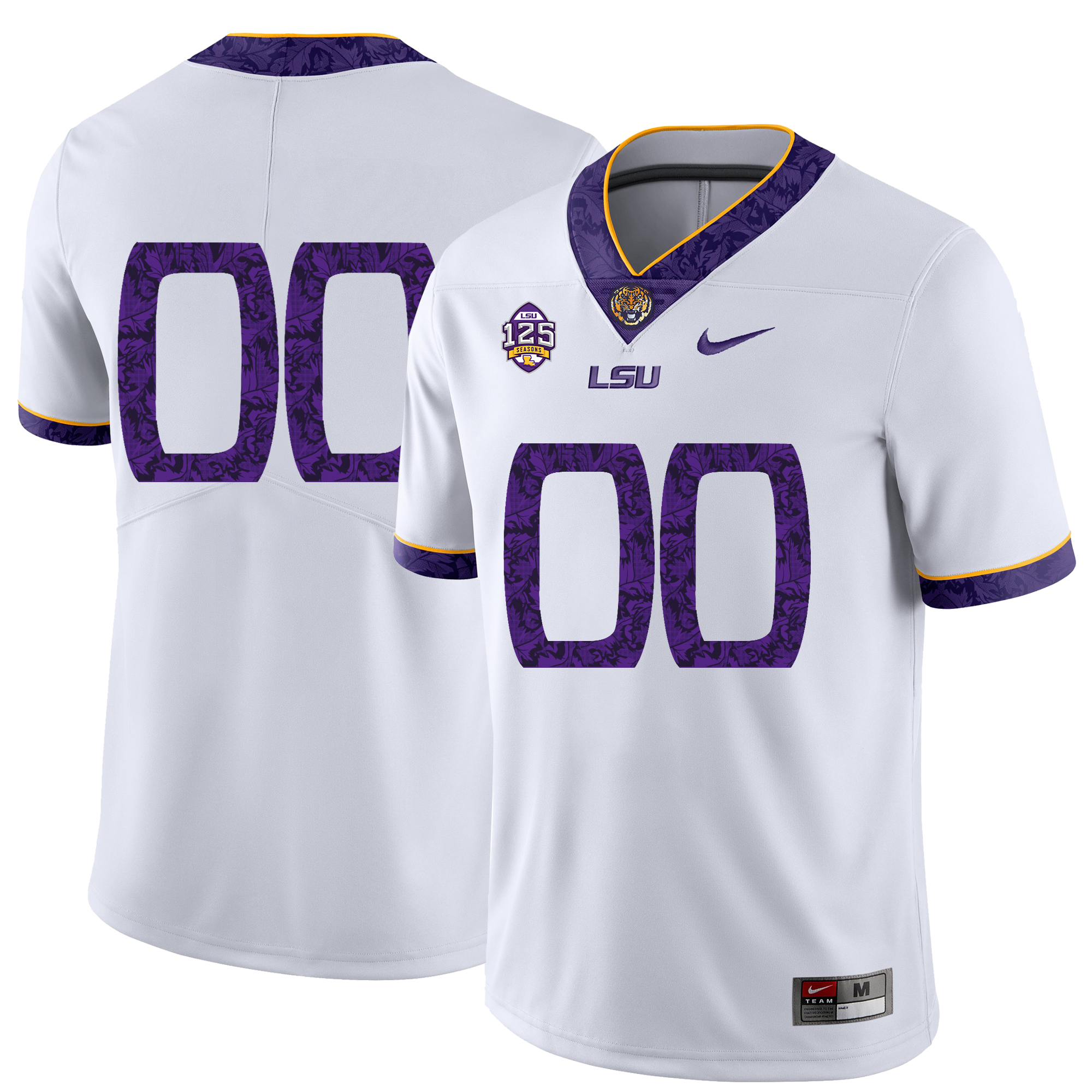 LSU Tigers White Men's Fashion Customized Nike College Football Jersey