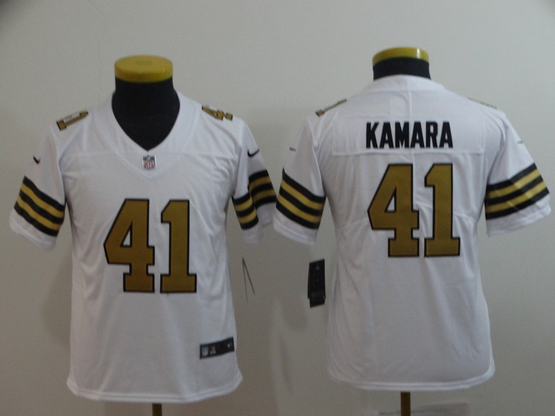Nike Saints 41 Alvin Kamara White Youth Color Rush Limited Jersey