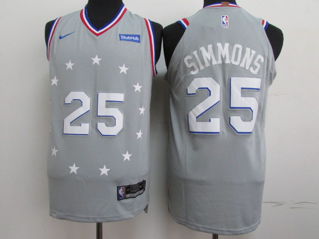 76ers 25 Ben Simmons Gray 2018-19 City Edition Nike Authentic Jersey