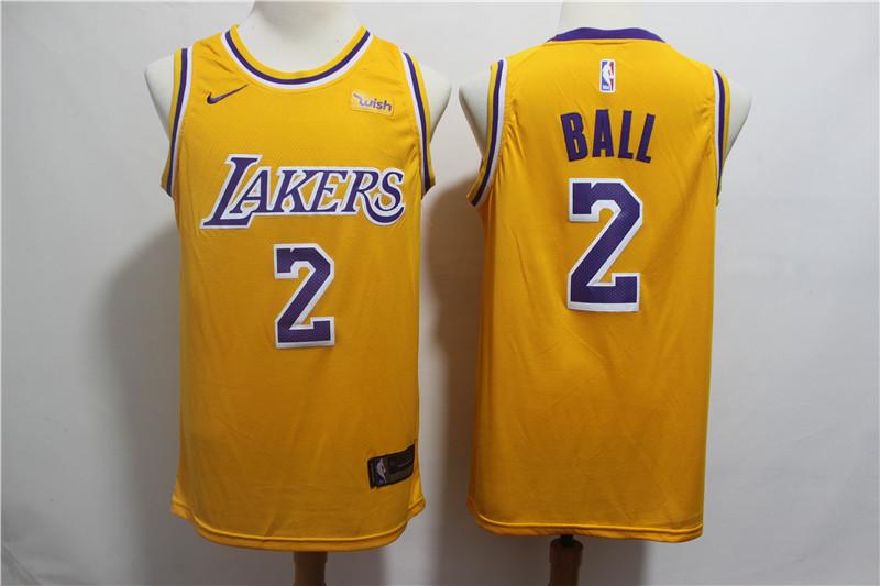 Lakers 2 Lonzo Ball Gold 2018-19 Nike Swingman Jersey