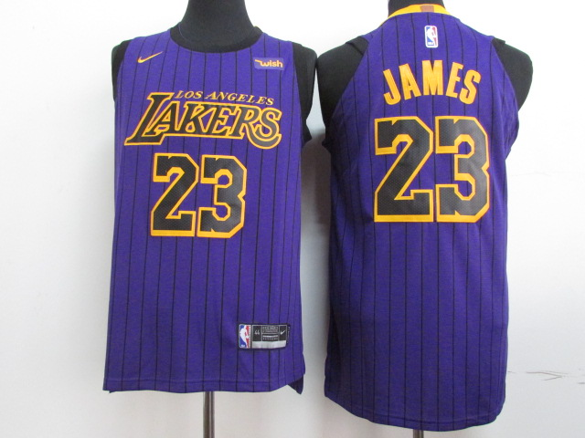 Lakers 23 Lebron James Purple 2018-19 City Edition Nike Authentic Jersey