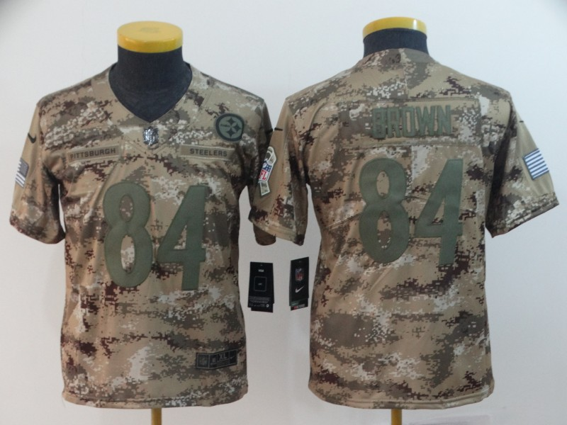 Nike Steelers 84 Antonio Brown Camo Youth Salute To Service Limited Jersey