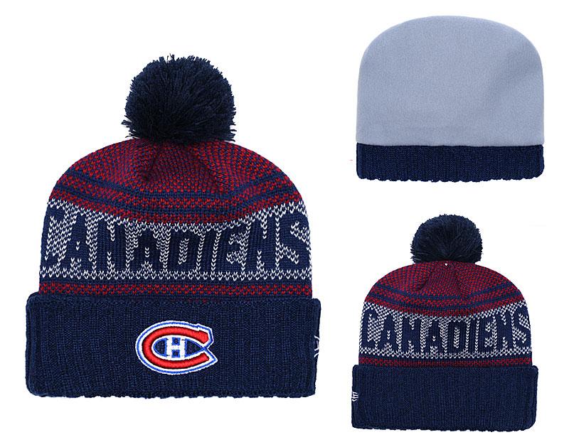 Canadiens Fresh Logo Navy Pom Knit Hat YD