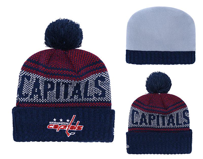 Capitals Fresh Logo Navy Pom Knit Hat YD