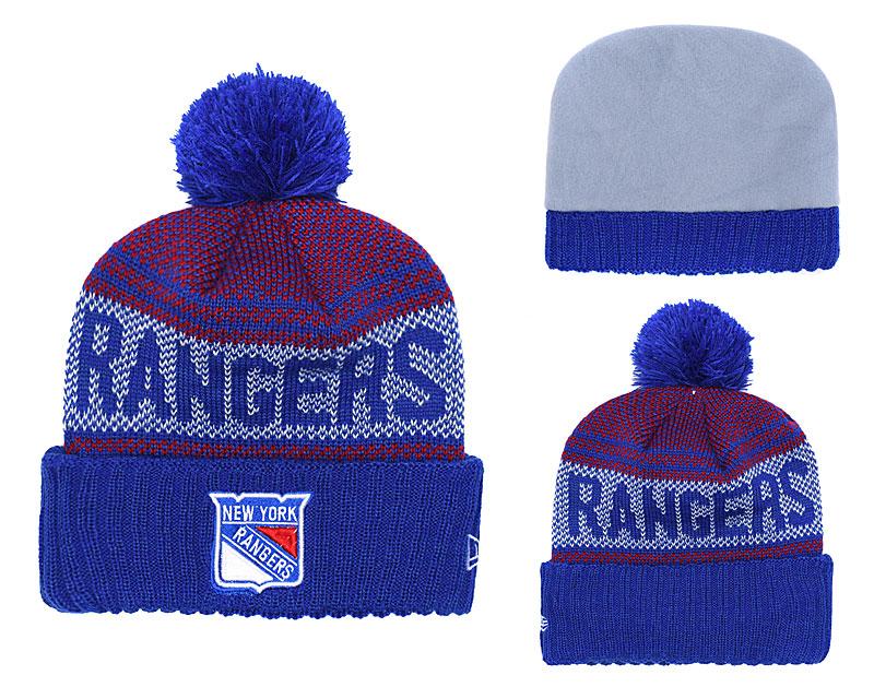 NY Rangers Fresh Logo Blue Pom Knit Hat YD