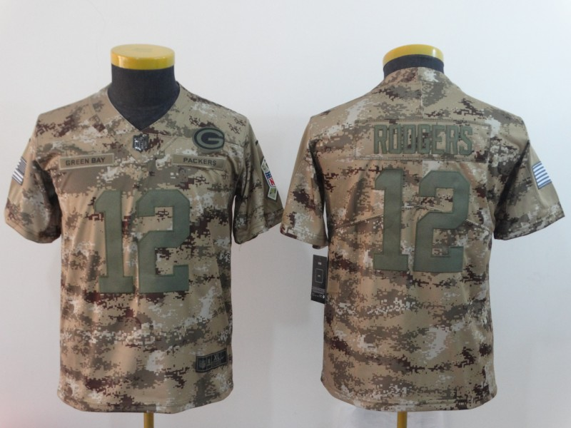 Nike Packers 12 Aaron Rodgers Camo Youth Salute To Service Limited Jersey