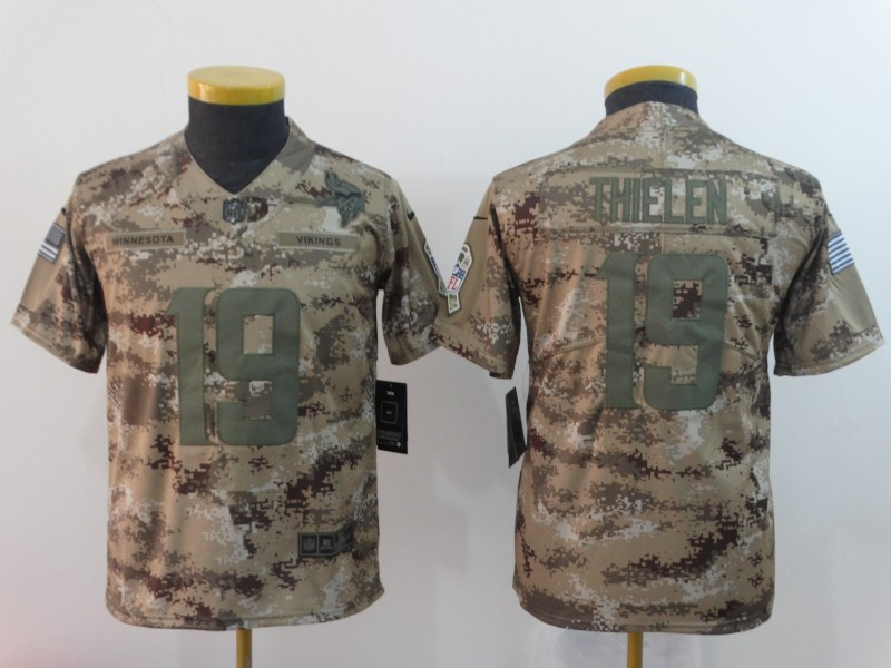 Nike Vikings 19 Adam Thielen Camo Youth Salute To Service Limited Jersey