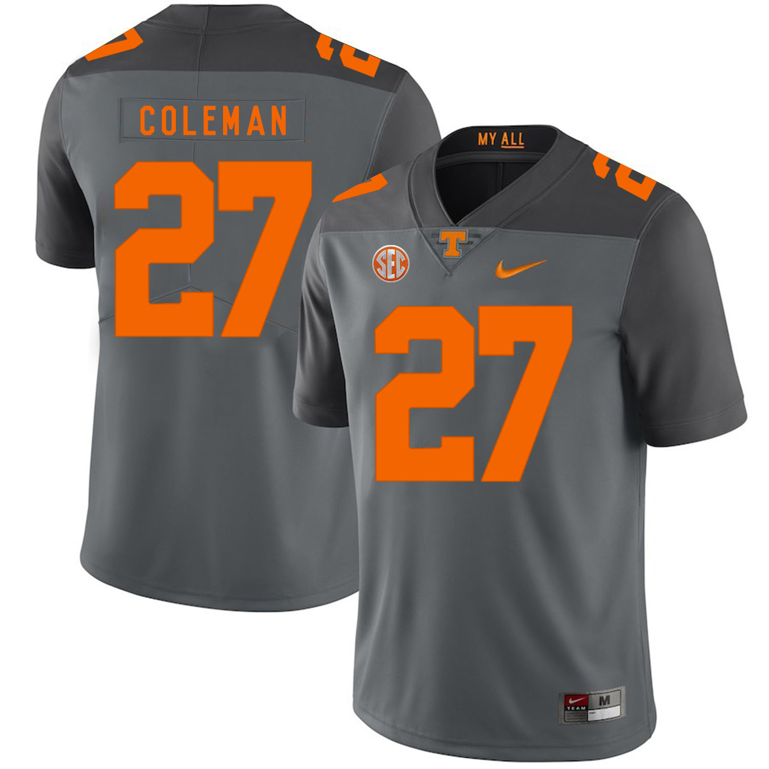Tennessee Volunteers 27 Justin Coleman Gray Nike College Football Jersey