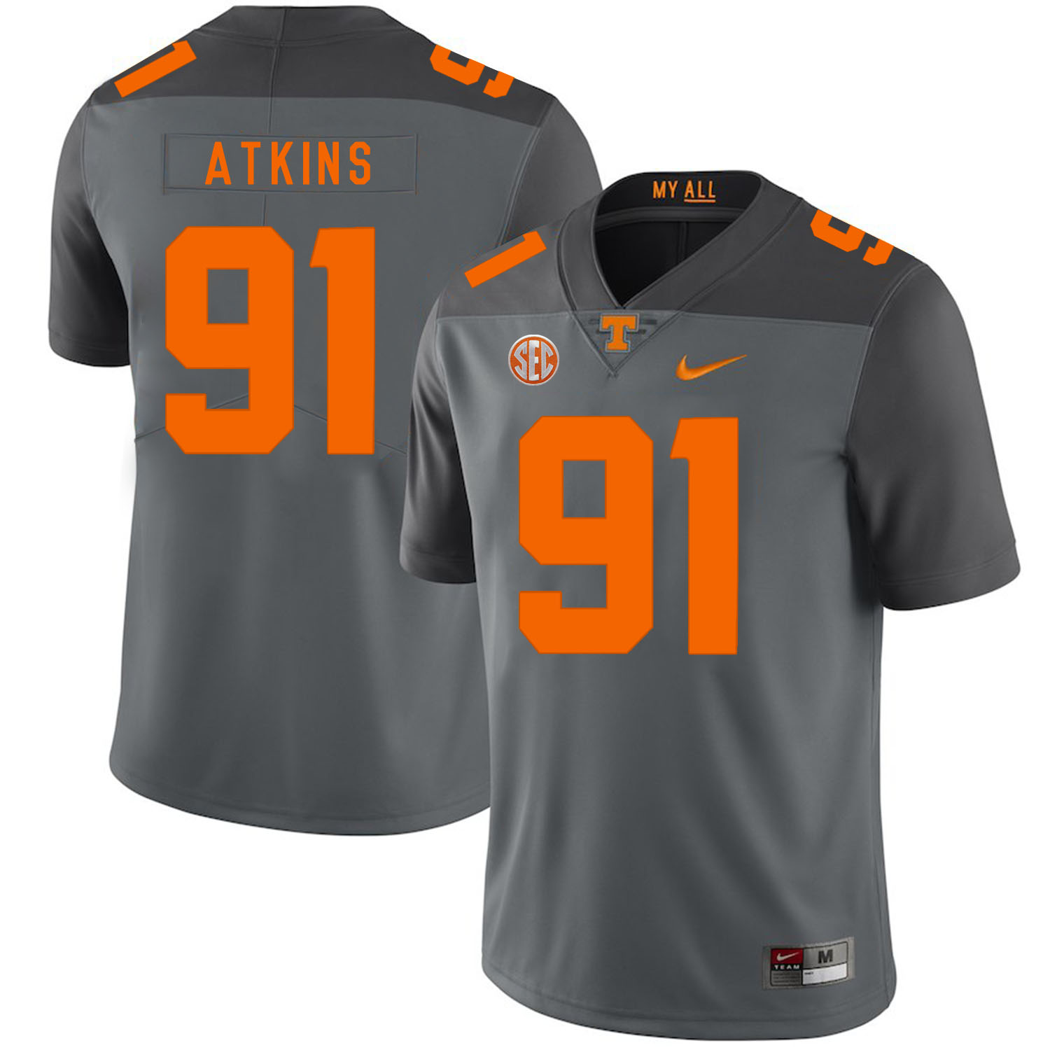 Tennessee Volunteers 91 Doug Atkins Gray Nike College Football Jersey