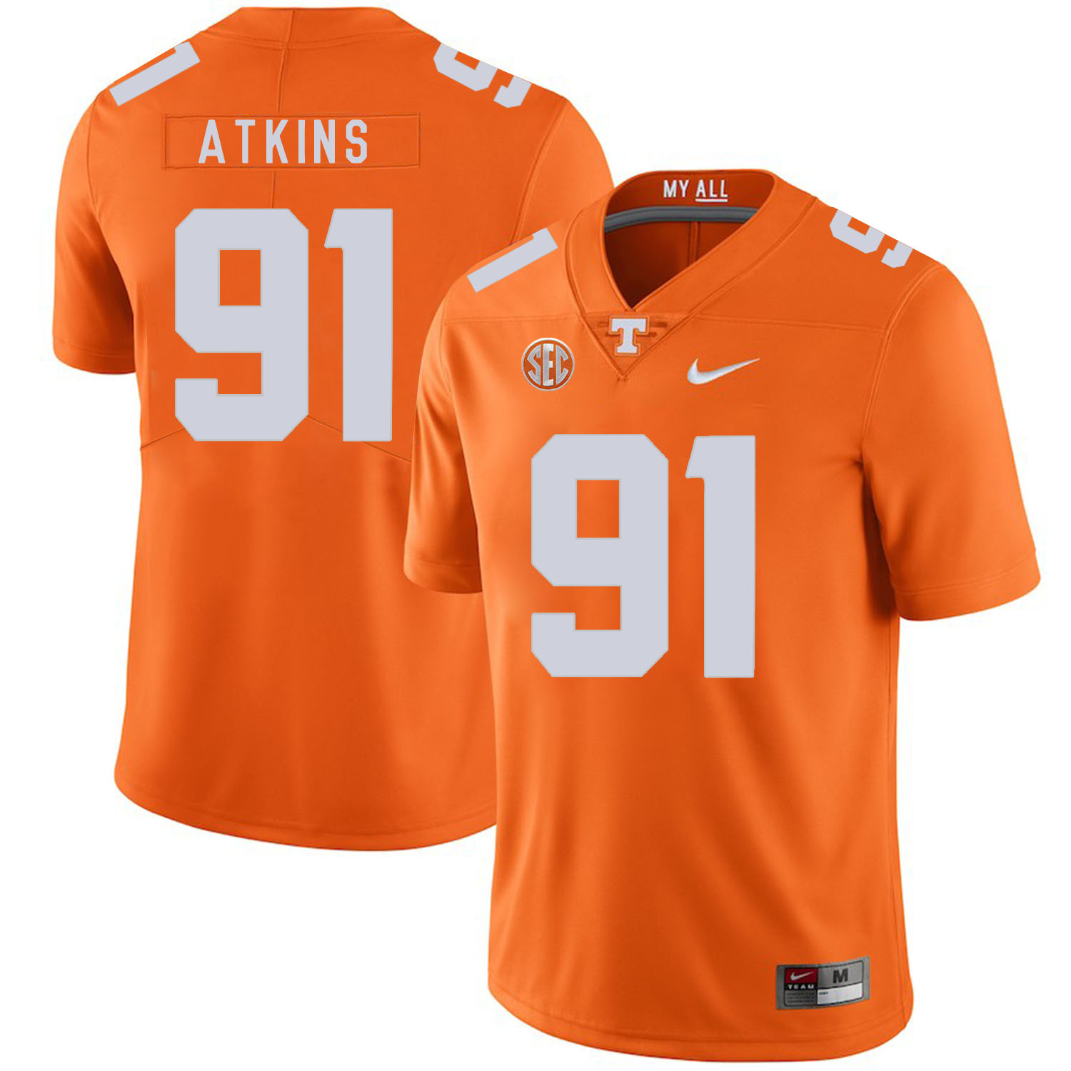 Tennessee Volunteers 91 Doug Atkins Orange Nike College Football Jersey