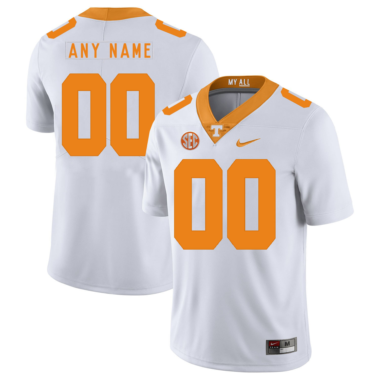 Tennessee Volunteers White Men's Customized Nike College Football Jersey