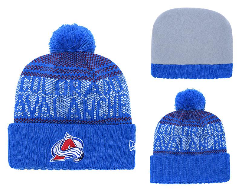 Avalanche Fresh Logo Blue Pom Knit Hat YD