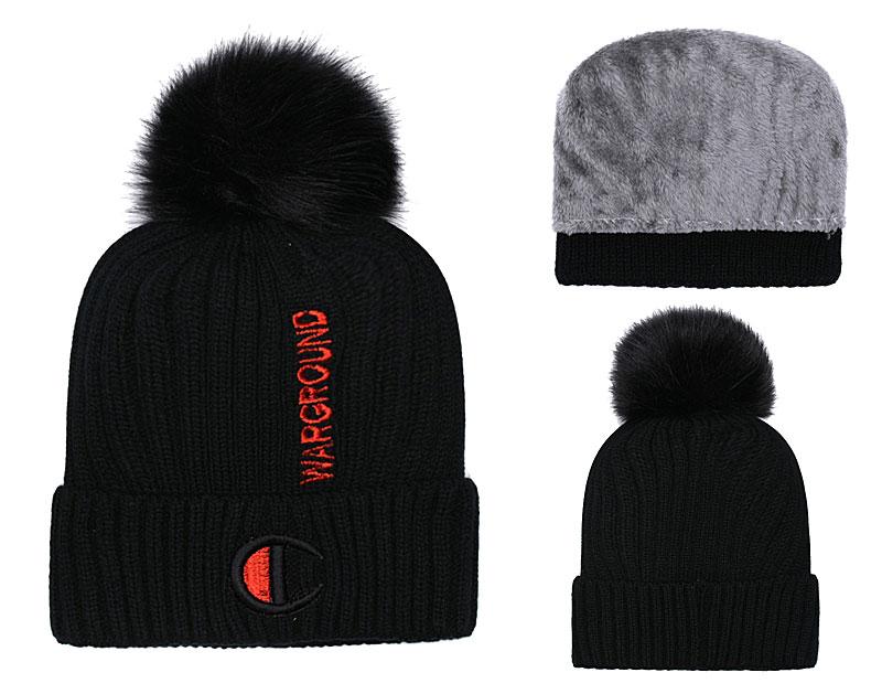 Champion Warground Logo Black Fashion Sport Knit Hat SG