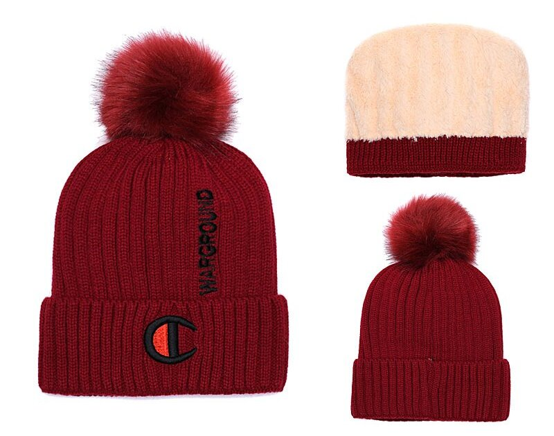 Champion Warground Logo Burgundy Fashion Sport Knit Hat SG