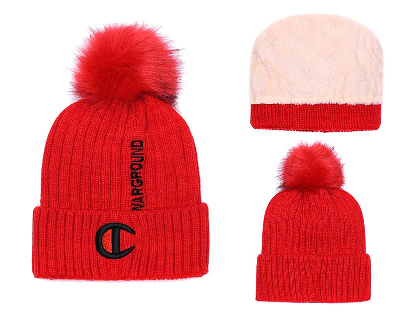 Champion Warground Logo Red Fashion Sport Knit Hat SG