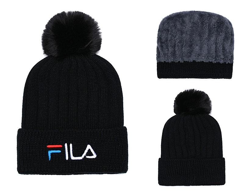 Fila Fresh Logo Black Fashion Sport Knit Hat SG