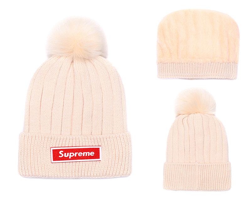 Supreme Fresh Logo Cream Fashion Sport Knit Hat SG