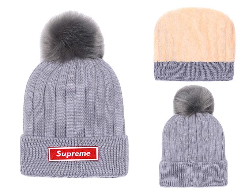 Supreme Fresh Logo Gray Fashion Sport Knit Hat SG