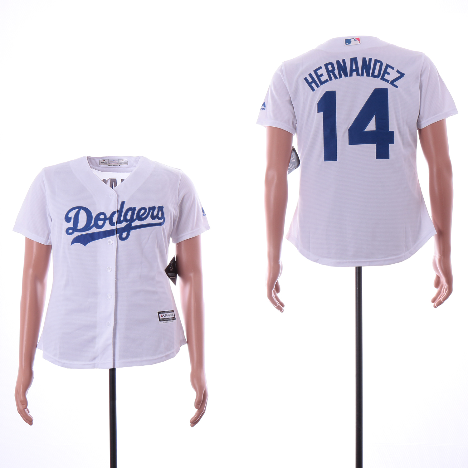 Dodgers 14 Enrique Hernandez White Women Cool Base Jersey
