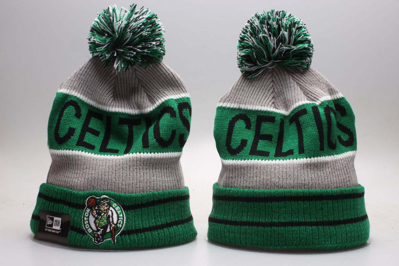 Celtics Green Wordmark Cuffed Pom Knit Hat YP