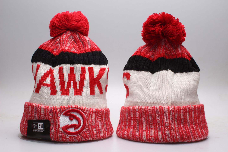 Hawks Red Wordmark Cuffed Pom Knit Hat YP
