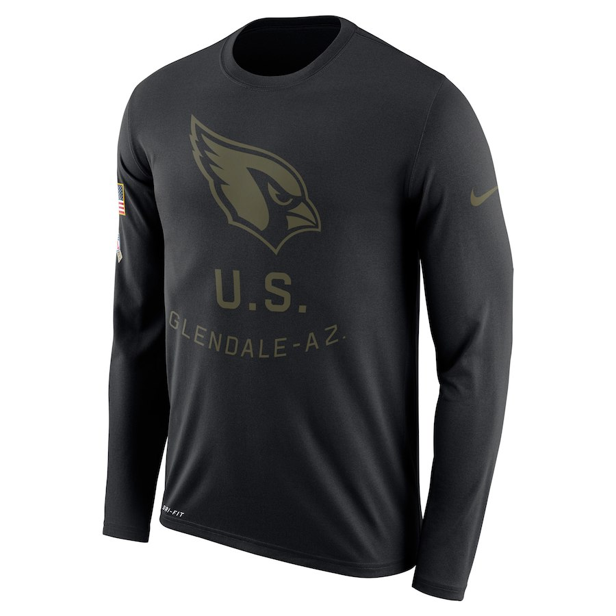 Arizona Cardinals Nike Salute to Service Sideline Legend Performance Long Sleeve T-Shirt Black