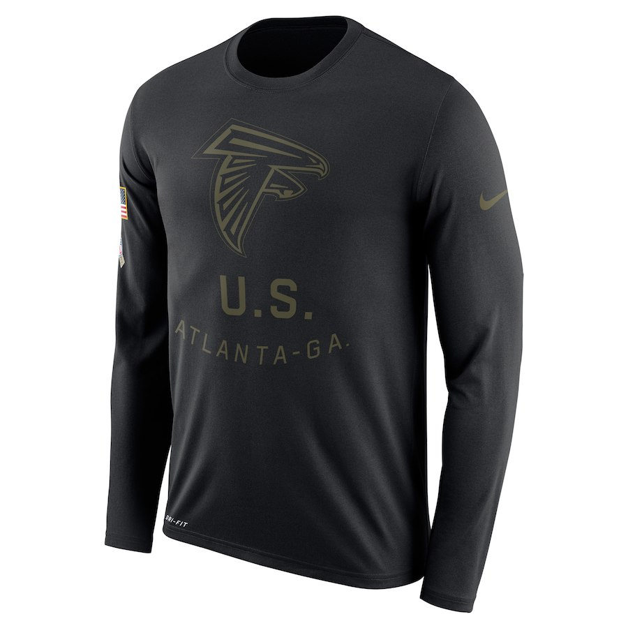 Atlanta Falcons Nike Salute to Service Sideline Legend Performance Long Sleeve T-Shirt Black