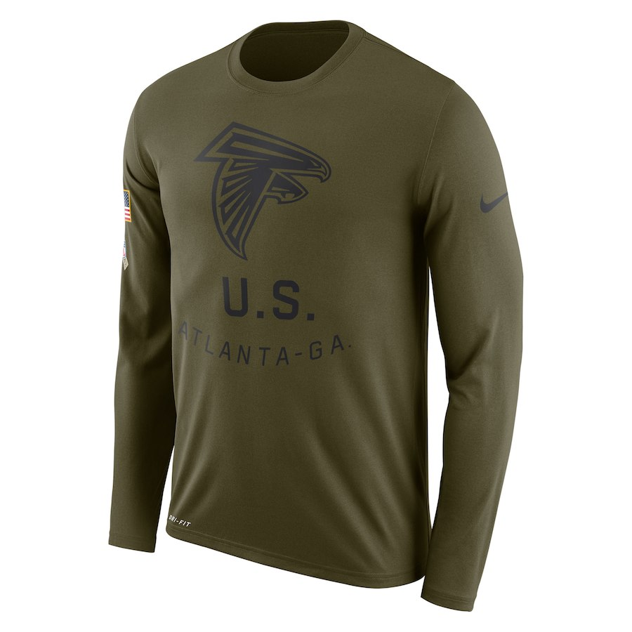 Atlanta Falcons Nike Salute to Service Sideline Legend Performance Long Sleeve T-Shirt Olive