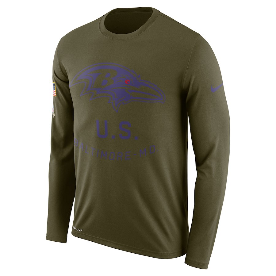 Baltimore Ravens Nike Salute to Service Sideline Legend Performance Long Sleeve T-Shirt Olive