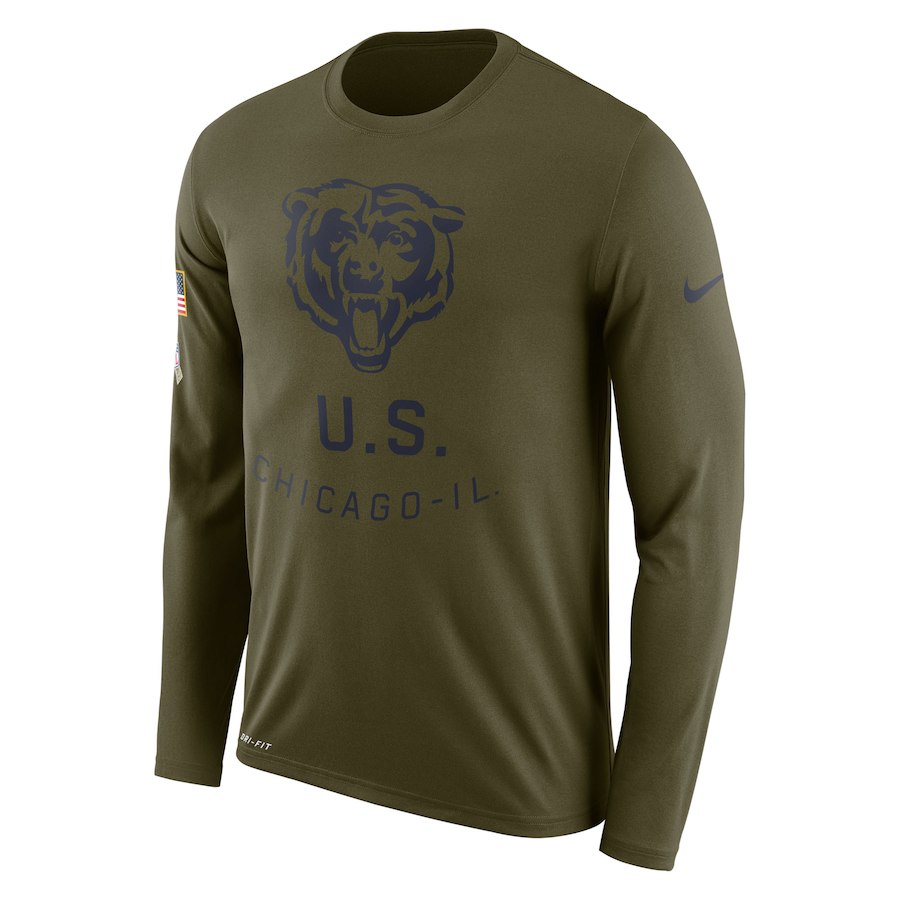 Chicago Bears Nike Salute to Service Sideline Legend Performance Long Sleeve T-Shirt Olive
