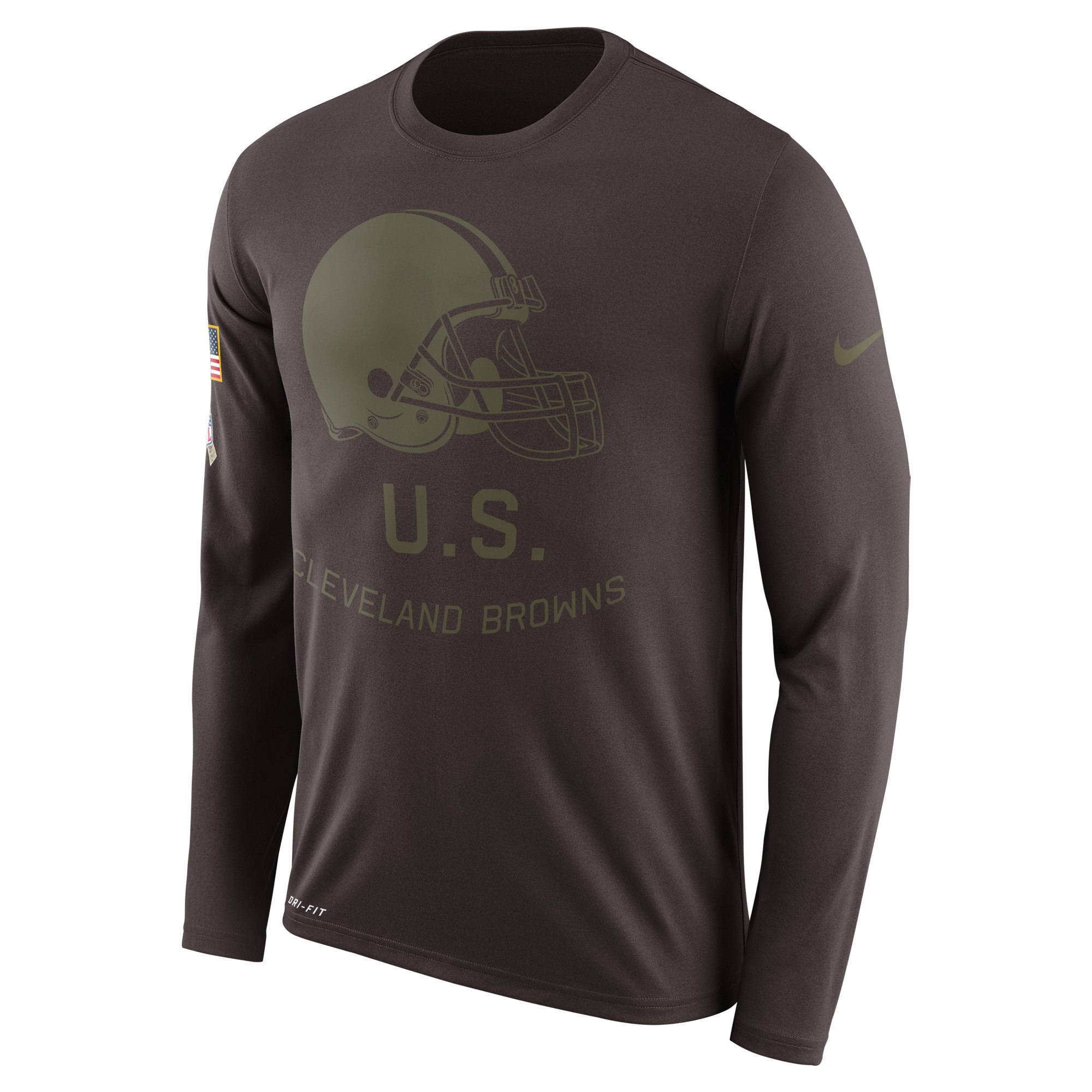 Cleveland Browns Nike Salute to Service Sideline Legend Performance Long Sleeve T-Shirt Brown