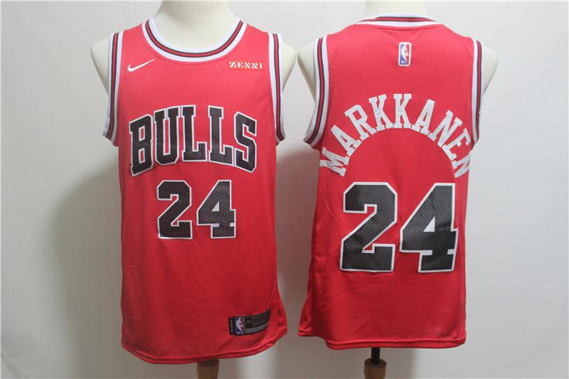 Bulls 24 Lauri Markkanen Red Nike Swingman Jersey