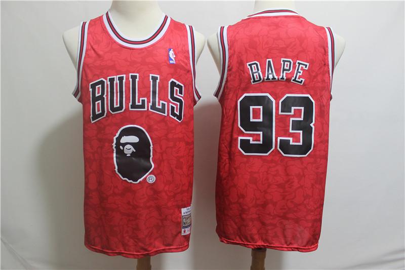 Bulls 93 Bape Red Hardwood Classics Jersey