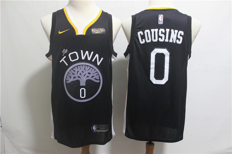 Warriors 0 DeMarcus Cousins Black 2018-19 City Edition Nike Swingman Jersey