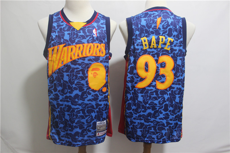 Warriors 93 Bape Blue Hardwood Classics Jersey