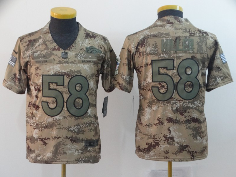 Nike Broncos 58 Von Miller Camo Youth Salute To Service Limited Jersey