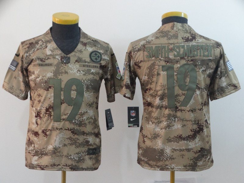 Nike Steelers 19 JuJu Smith-Schuster Camo Youth Salute To Service Limited Jersey