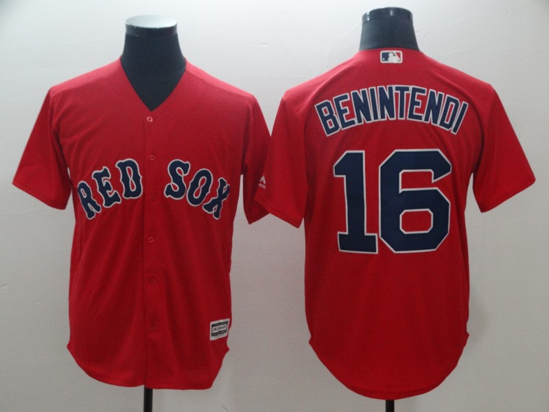 Red Sox 16 Andrew Benintendi Red Cool Base Jersey