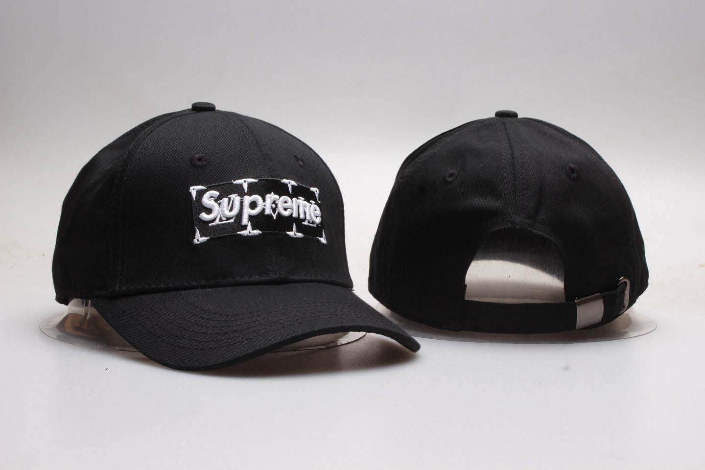 Supreme Fresh Logo Black Snapback Adjustable Hat YP