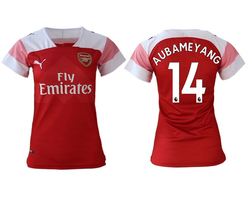 2018-19 Arsenal 14 AUBAMEYANG Home Women Soccer Jersey