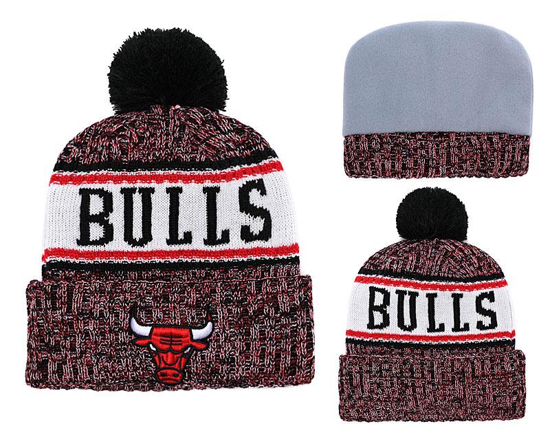 Bulls Team Logo Black Red Pom Knit Hat YD
