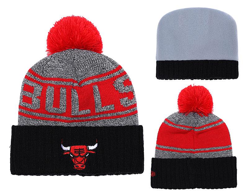 Bulls Team Logo Red Black Pom Knit Hat YD
