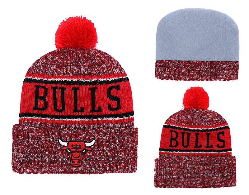 Bulls Team Logo Red Pom Knit Hat YD