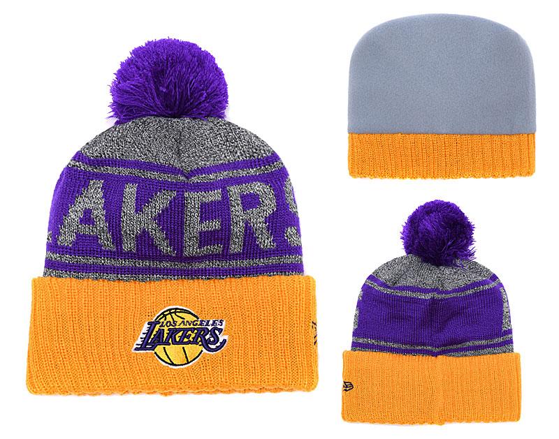 Lakers Fesh Logo Purple Yellow Pom Knit Hat YD
