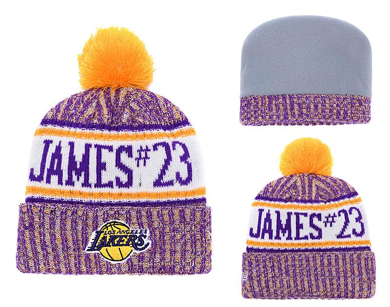 Lakers Fesh Logo Yellow Purple Pom Knit Hat YD