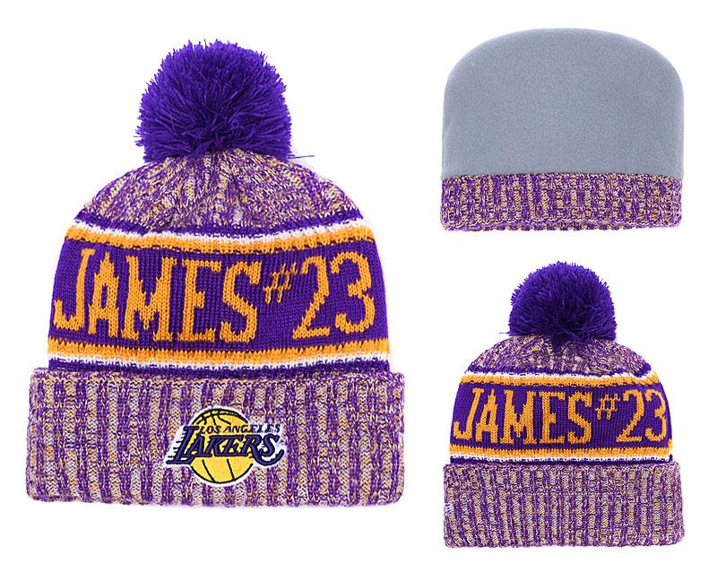 Lakers Fresh Logo Purple Pom Knit Hat YD