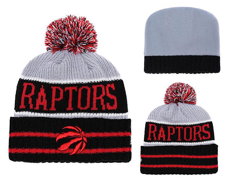Raptors Team Logo Red Pom Knit Hat YD
