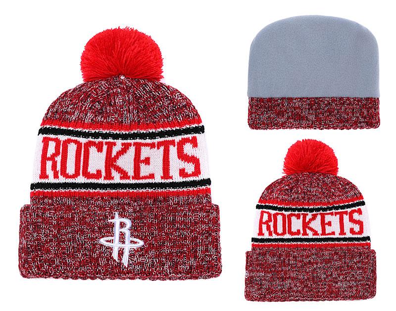 Rockets Team Logo Red Pom Knit Hat YD
