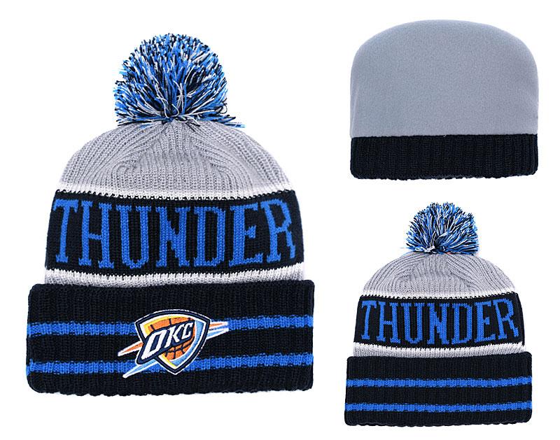 Thunder Team Logo Blue Pom Knit Hat YD