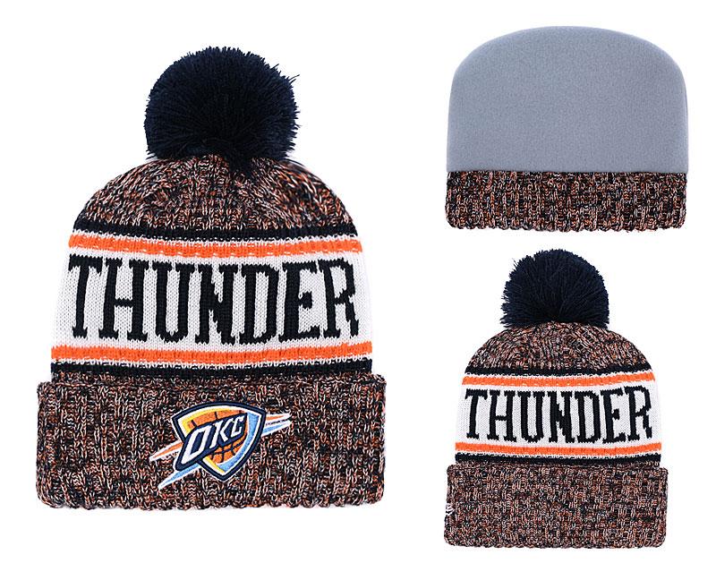 Thunder Team Logo Cuffed Knit Hat With Pom YD